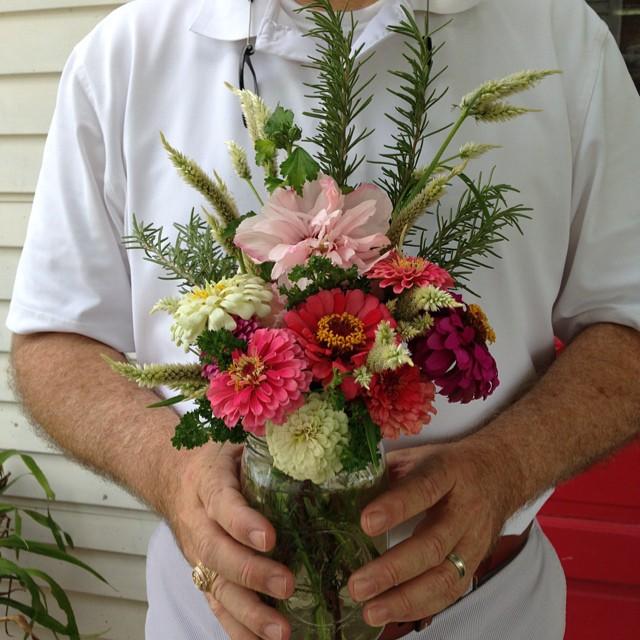 Garden bouquet for Sally's mom.  Althea, zinnia, gomphrena, celosia , rosemary and parsley. #masterofhort #slowflowers #organic #Zinnia